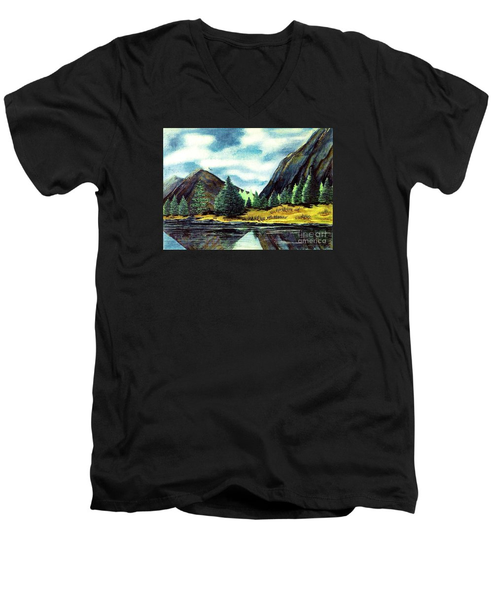 Fine Art Men's V-Neck T-Shirt featuring the painting Solitude by Patricia Griffin Brett