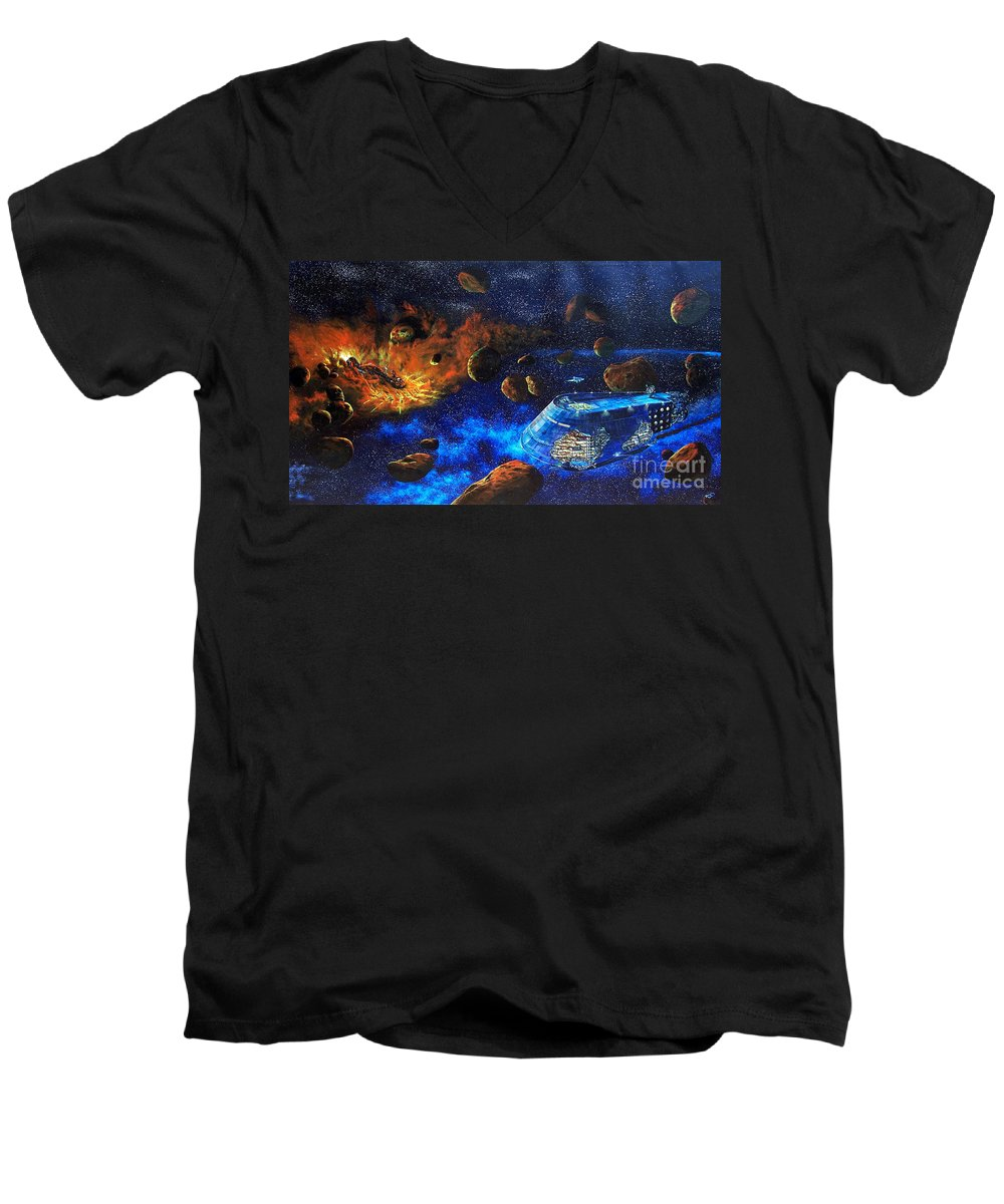 Future Men's V-Neck T-Shirt featuring the painting Spaceship Titanic by Murphy Elliott