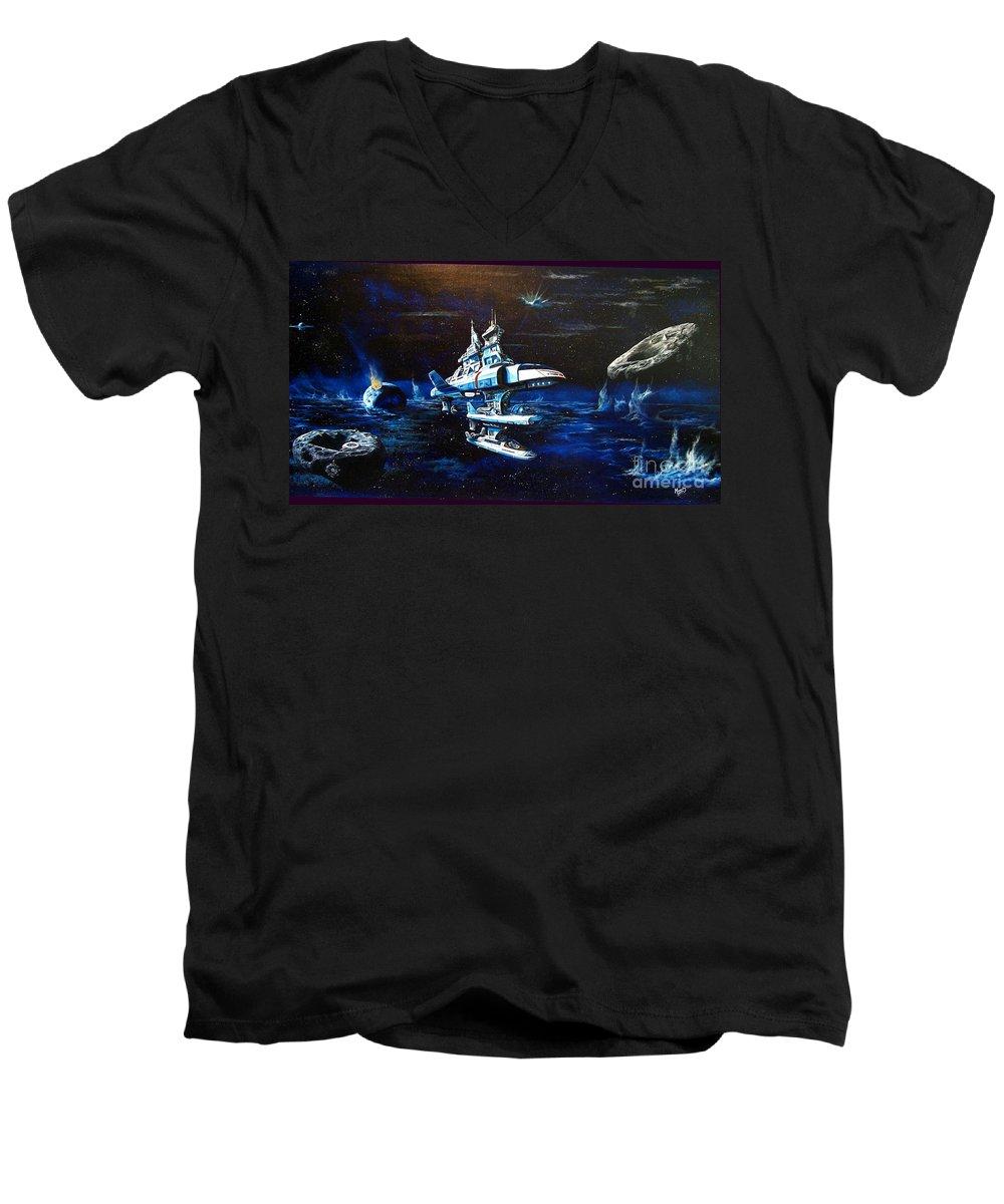 Alien Men's V-Neck T-Shirt featuring the painting Stellar Cruiser by Murphy Elliott