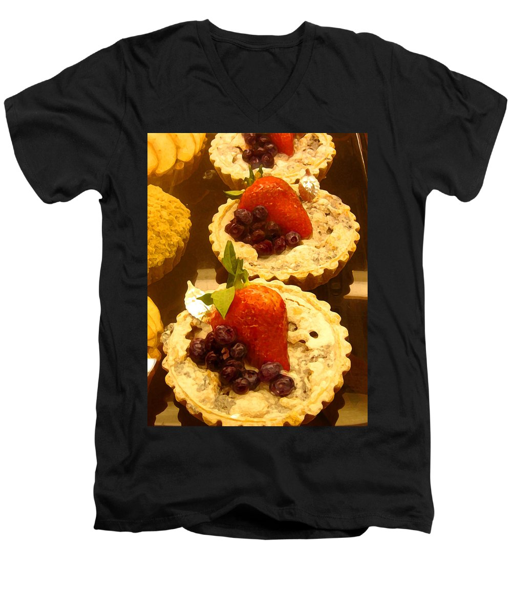 Food Men's V-Neck T-Shirt featuring the painting Strawberry Blueberry Tarts by Amy Vangsgard