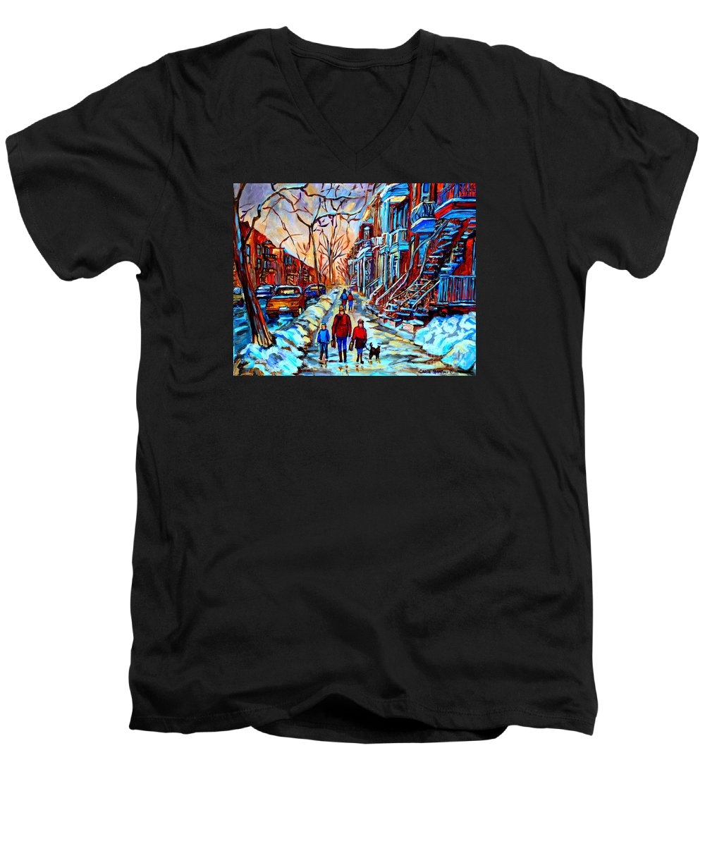 Montreal Men's V-Neck T-Shirt featuring the painting Streets Of Montreal by Carole Spandau