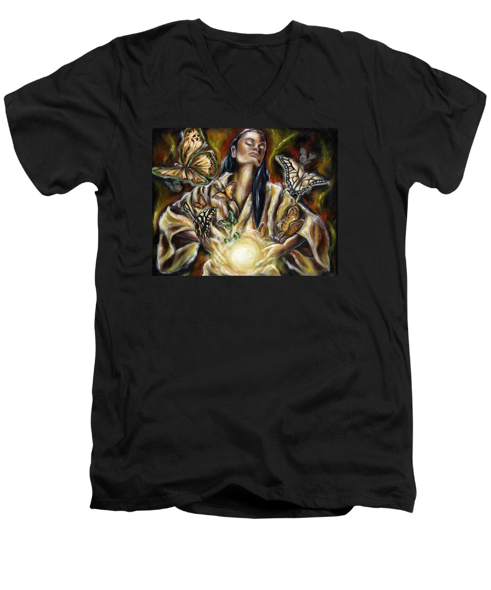 Asian Woman Men's V-Neck T-Shirt featuring the painting Sublimation by Hiroko Sakai