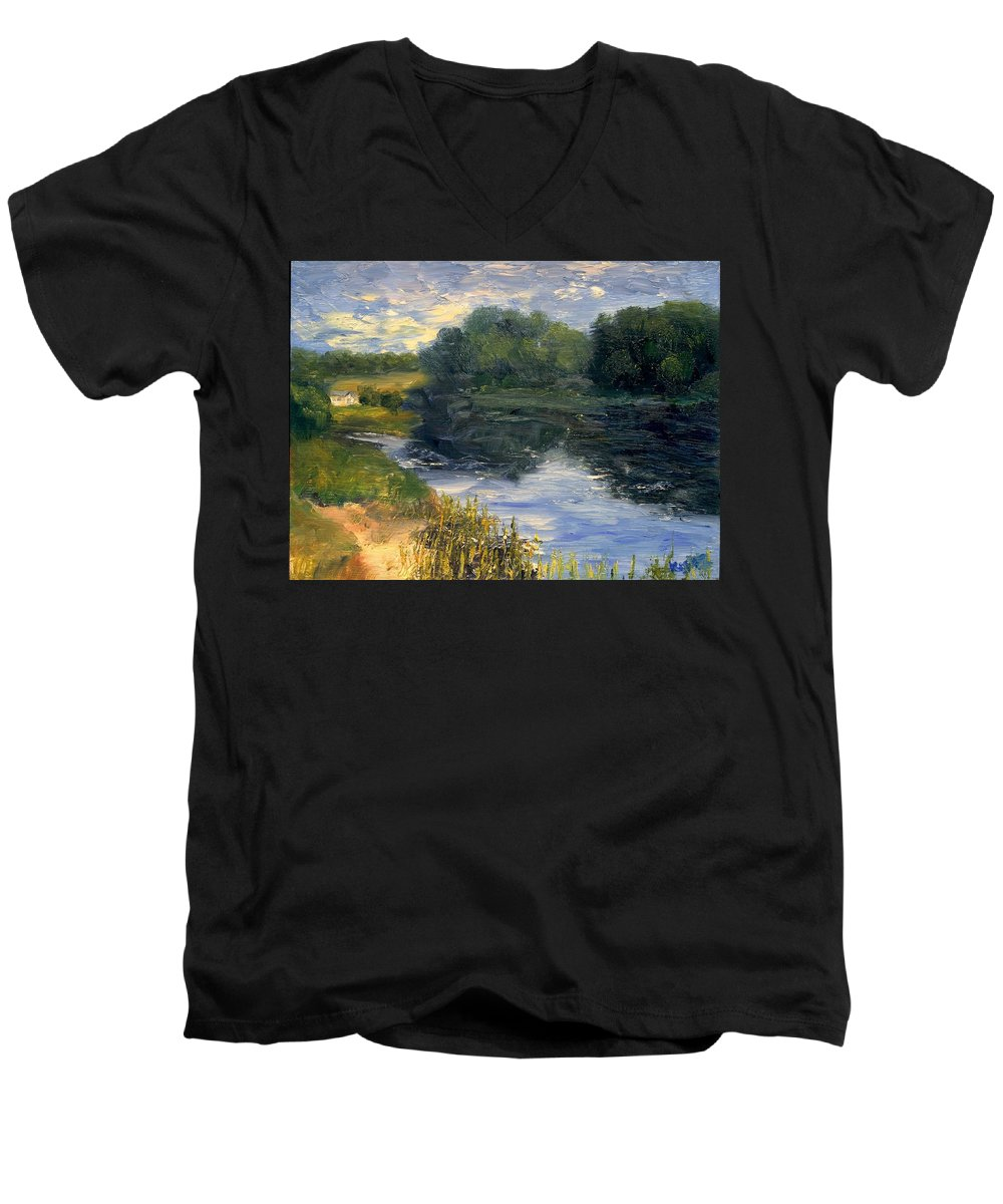 Landscape Men's V-Neck T-Shirt featuring the painting Summer At Jackson Lake by Gail Kirtz