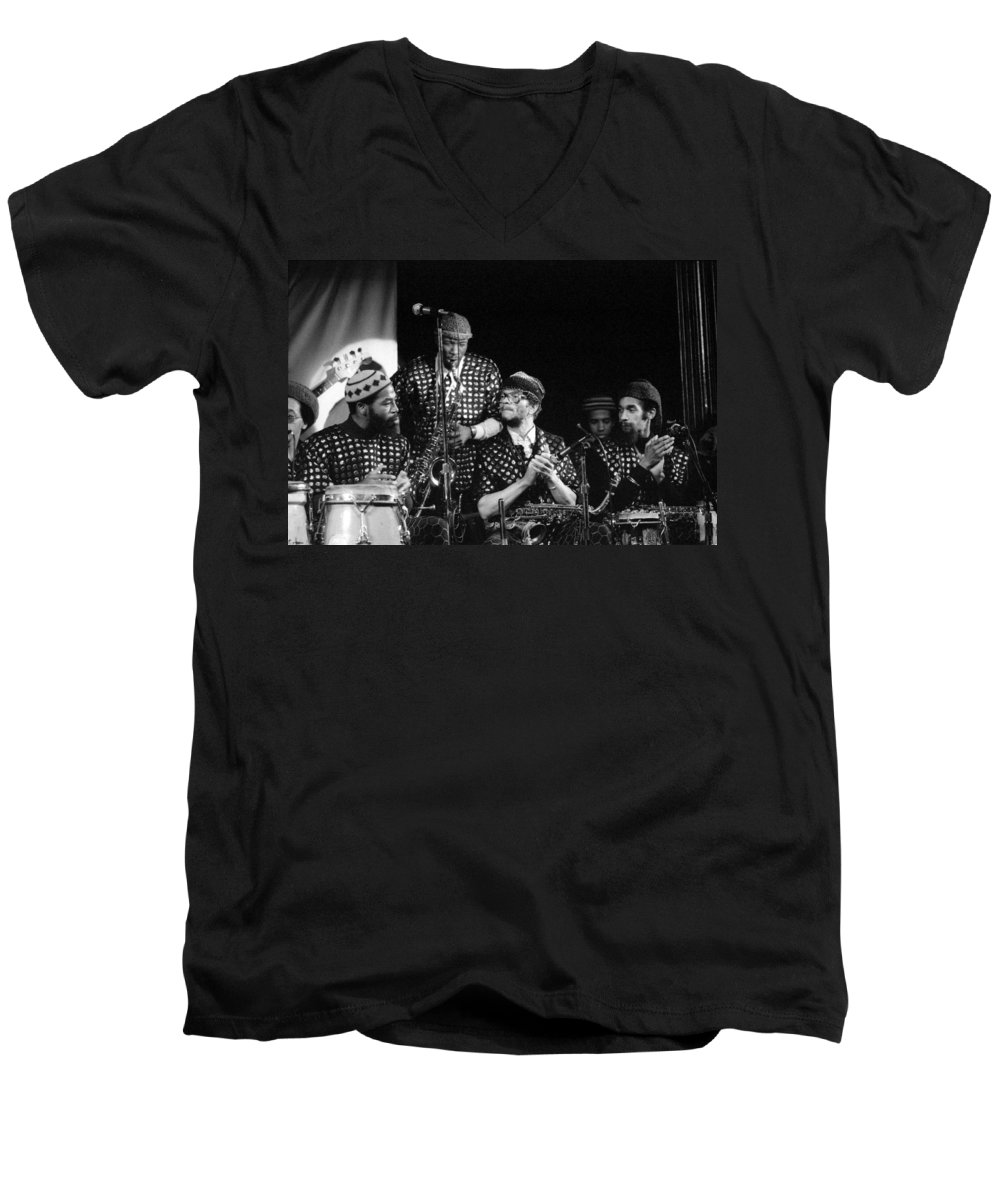 Jazz Men's V-Neck T-Shirt featuring the photograph Sun Ra Arkestra With John Gilmore by Lee Santa
