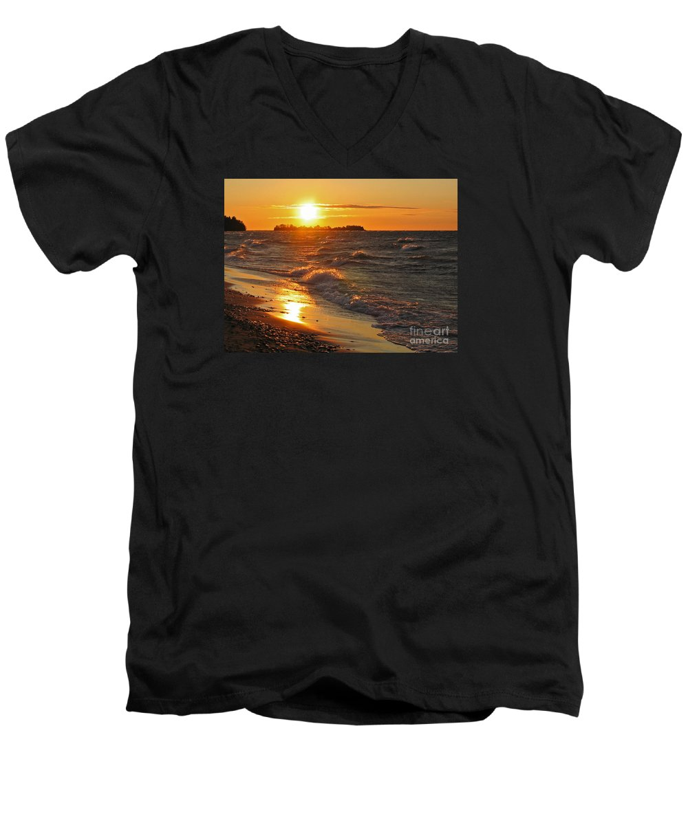 Sunset Men's V-Neck T-Shirt featuring the photograph Superior Sunset by Ann Horn
