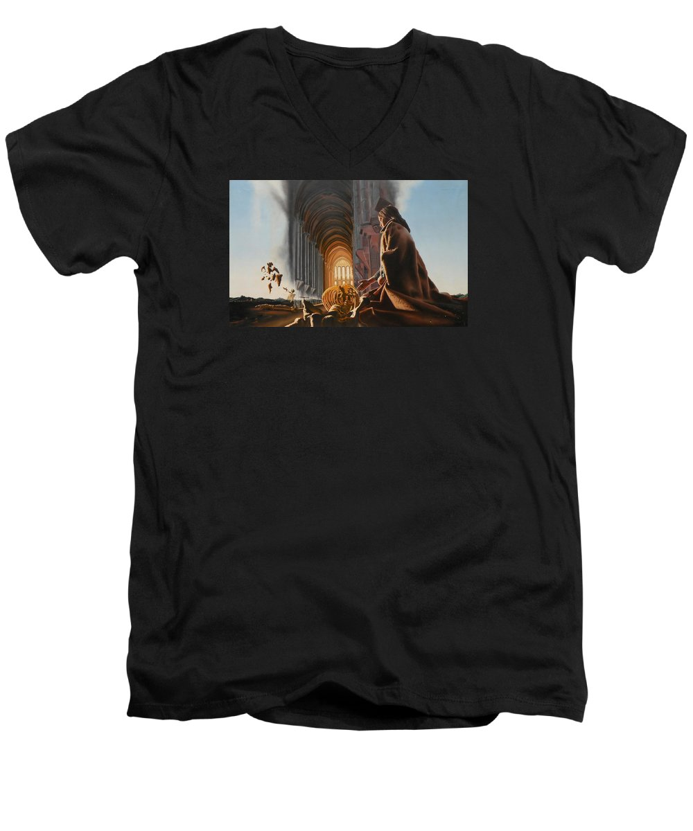 Surreal Men's V-Neck T-Shirt featuring the painting Surreal Cathedral by Dave Martsolf