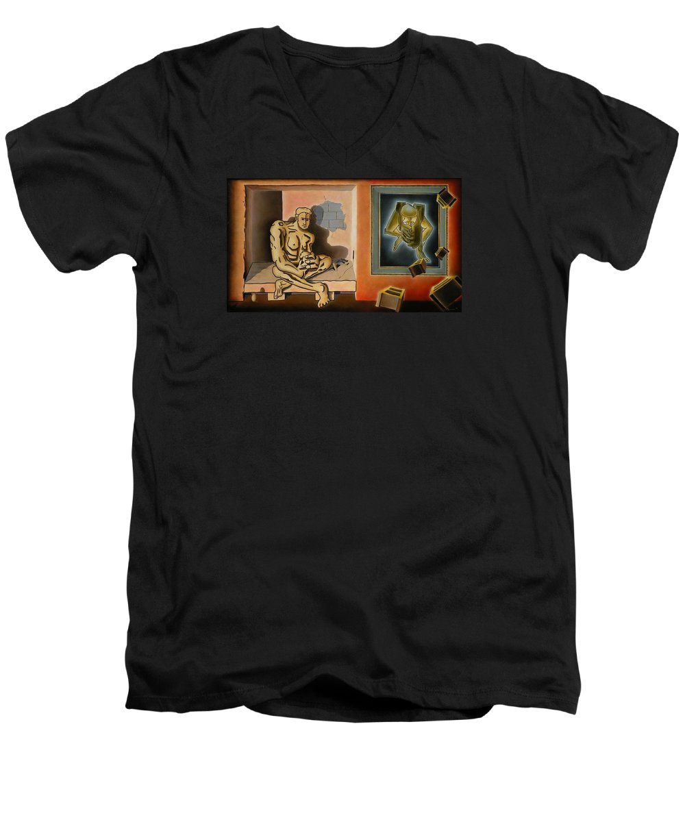 Surreal Men's V-Neck T-Shirt featuring the painting Surreal Portents Of Genius by Dave Martsolf