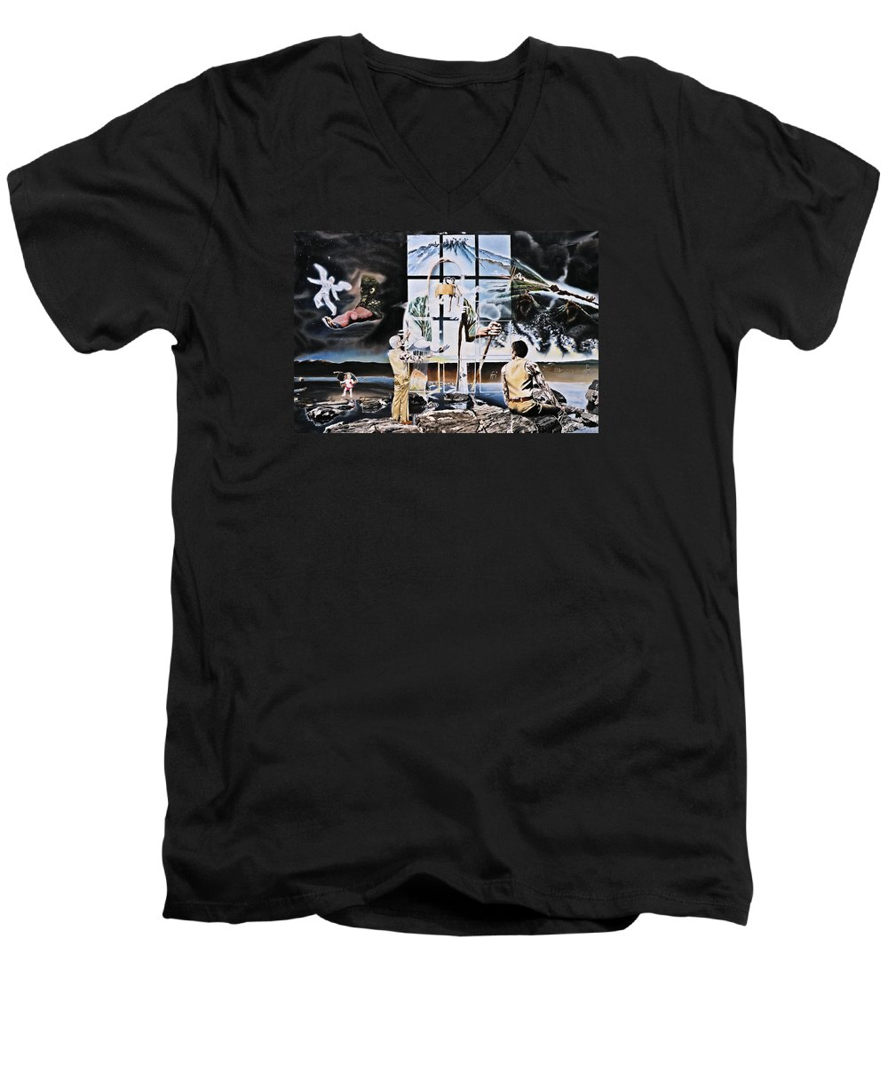 Surreal Men's V-Neck T-Shirt featuring the painting Surreal Windows Of Allegory by Dave Martsolf