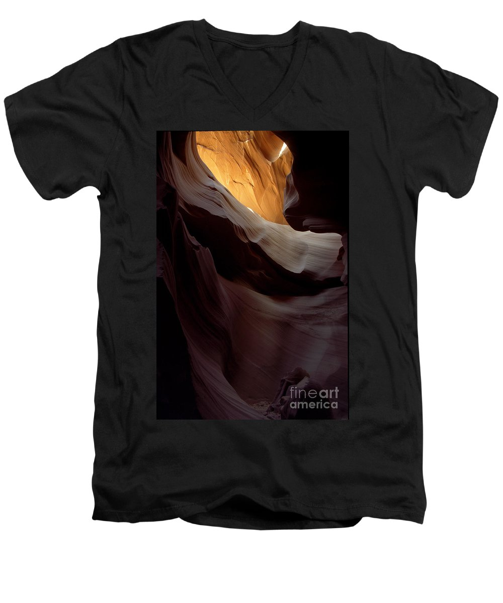 Slot Canyons Men's V-Neck T-Shirt featuring the photograph Swopes by Kathy McClure