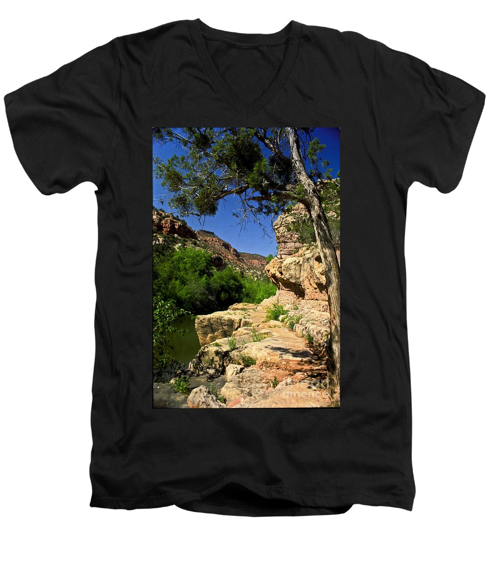 Arizona Men's V-Neck T-Shirt featuring the photograph Sycamore Canyon by Kathy McClure