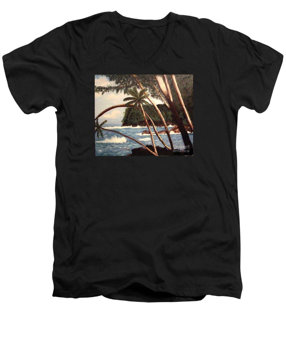 Hawaii Men's V-Neck T-Shirt featuring the painting The Big Island by Laurie Morgan