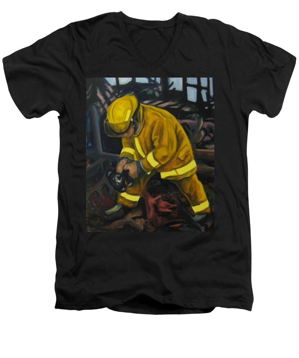 The Compulsion Towards Heroism Men's V-Neck T-Shirt featuring the painting The Compulsion Towards Heroism by John Malone