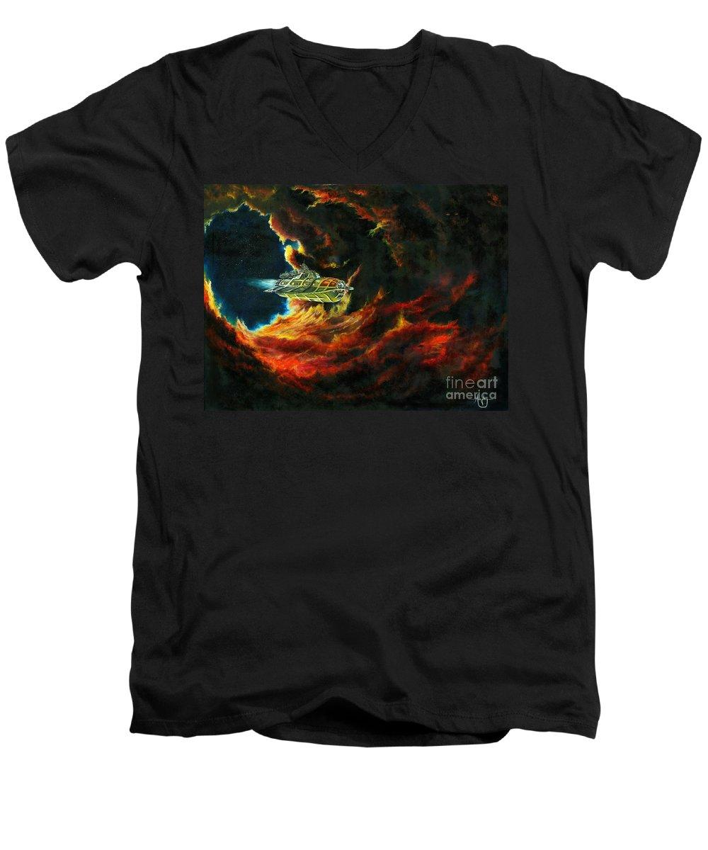 Devil Men's V-Neck T-Shirt featuring the painting The Devil's Lair by Murphy Elliott