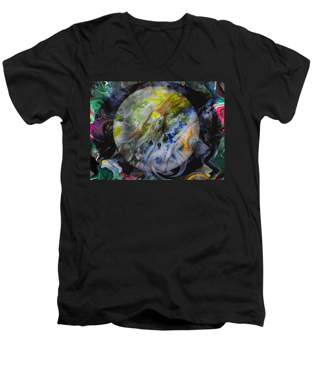 Surrealism Men's V-Neck T-Shirt featuring the digital art The Eye Of Silence by Otto Rapp