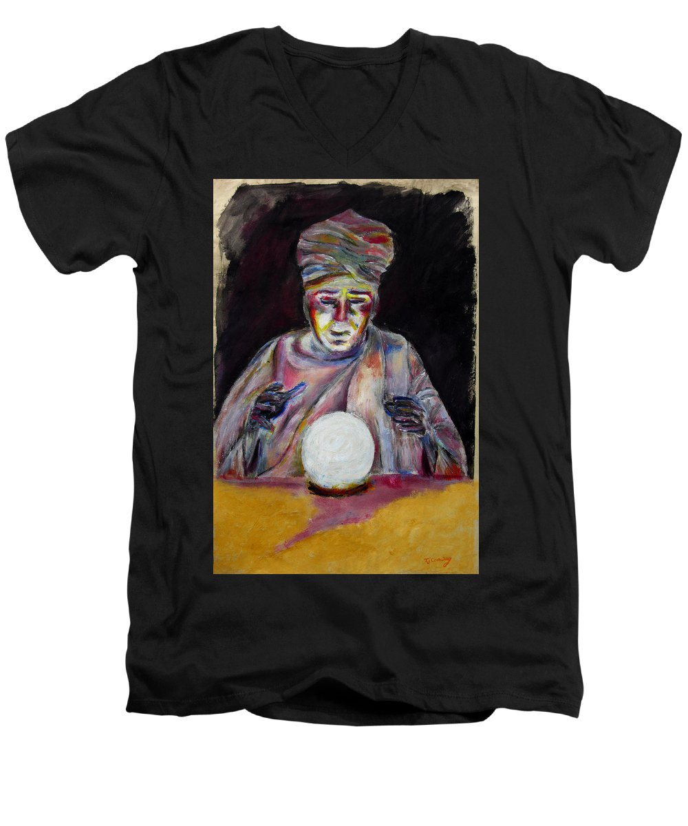 Fortune Tellers Men's V-Neck T-Shirt featuring the painting The Fortune Teller by Tom Conway