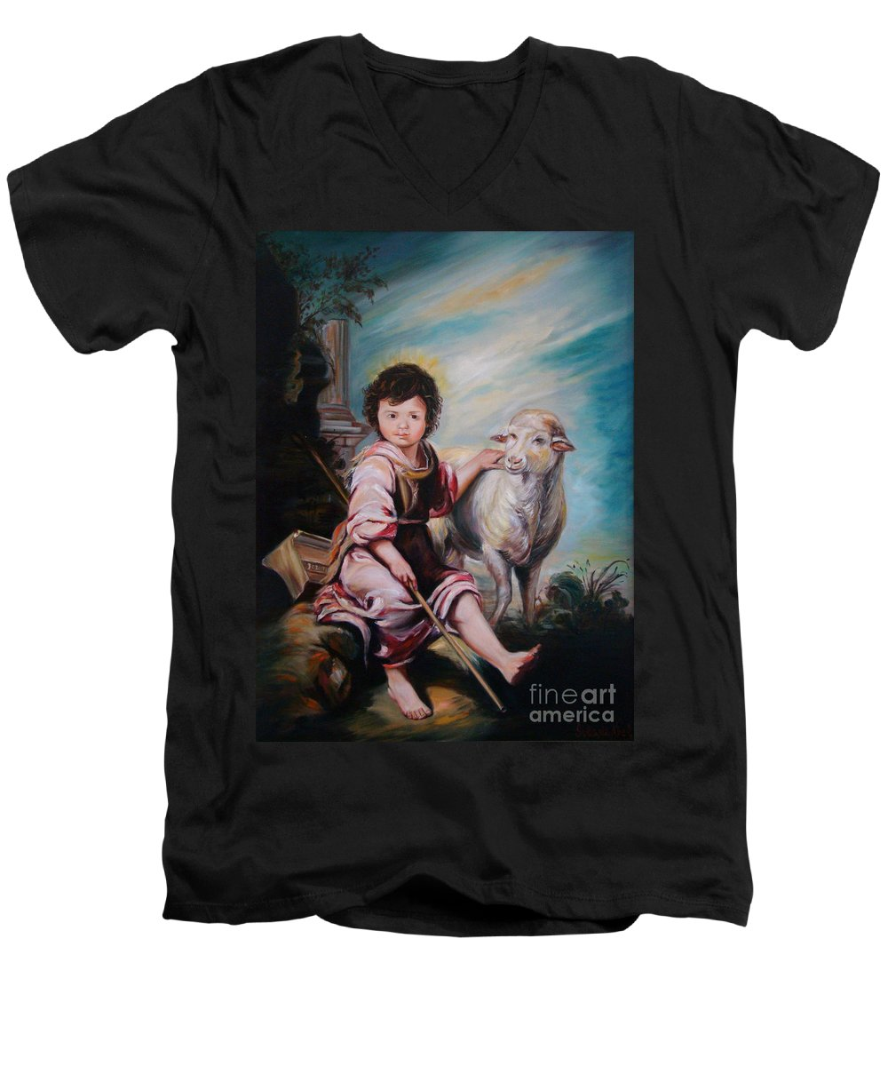 Classic Art Men's V-Neck T-Shirt featuring the painting The Good Shepherd by Silvana Abel