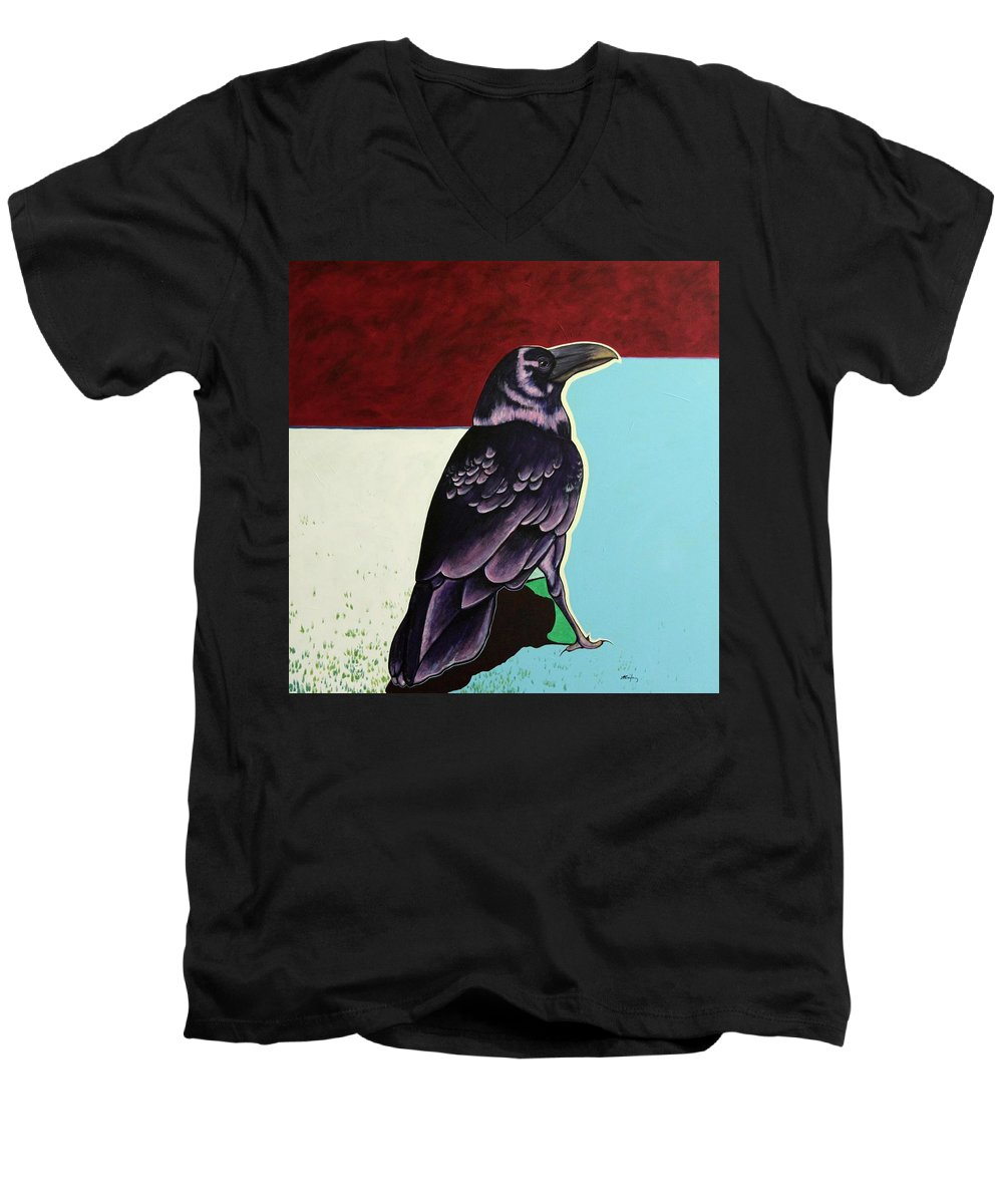 Wildlife Men's V-Neck T-Shirt featuring the painting The Gossip - Raven by Joe Triano