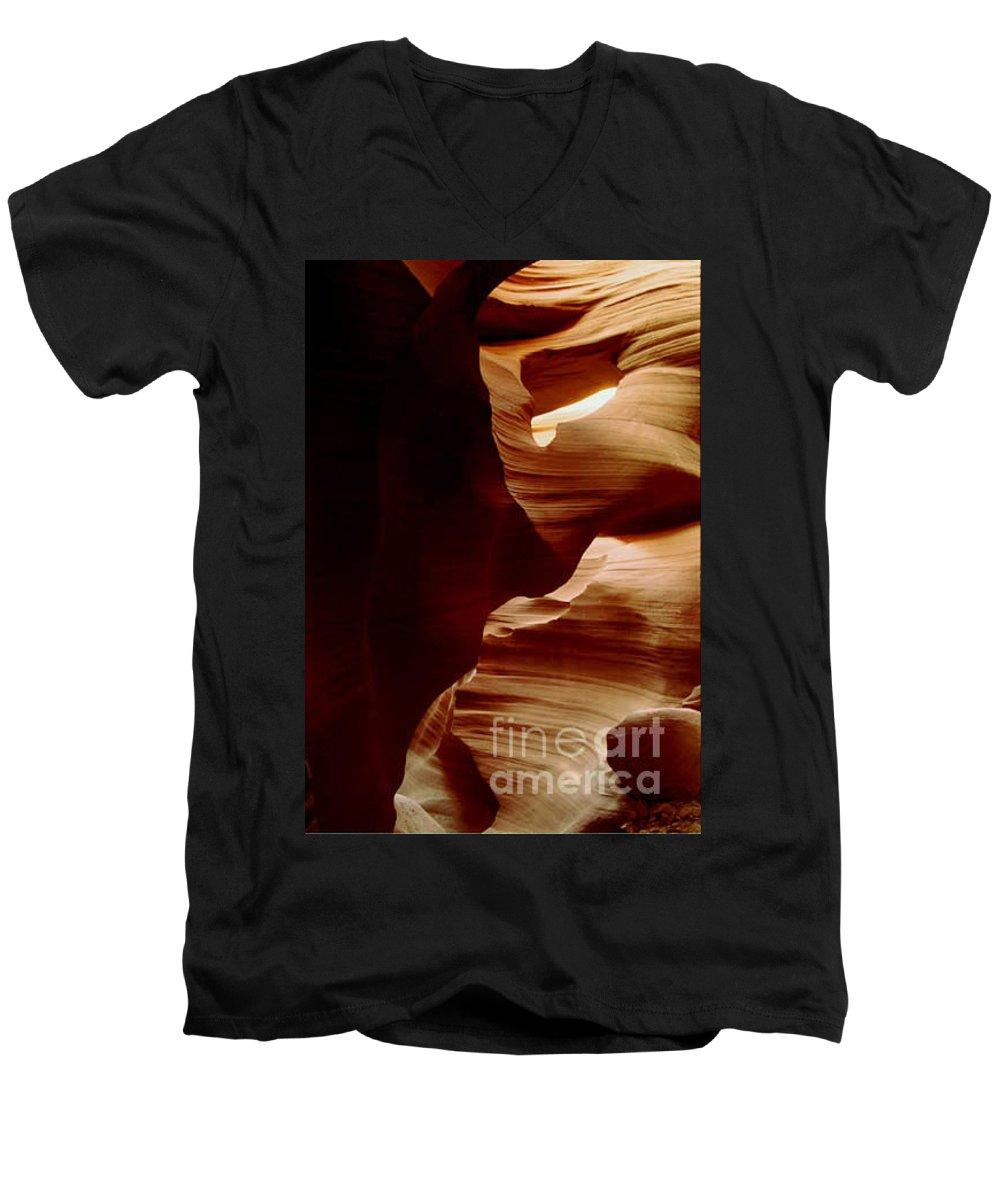 Landscape Men's V-Neck T-Shirt featuring the photograph The Heart Of Antelope Canyon by Kathy McClure