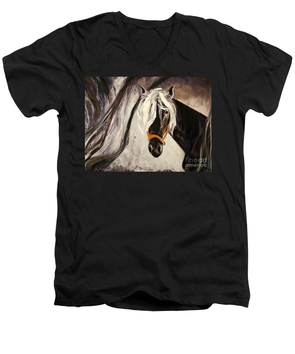 Horses Men's V-Neck T-Shirt featuring the painting The Performer by Gina De Gorna