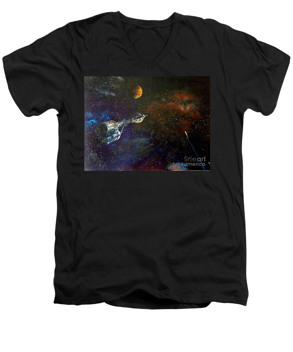 Vista Horizon Men's V-Neck T-Shirt featuring the painting The Search For Earth by Murphy Elliott