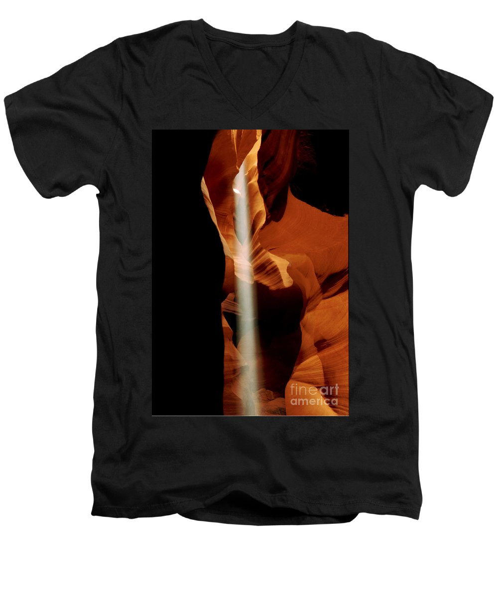 Antelope Canyon Men's V-Neck T-Shirt featuring the photograph The Source by Kathy McClure