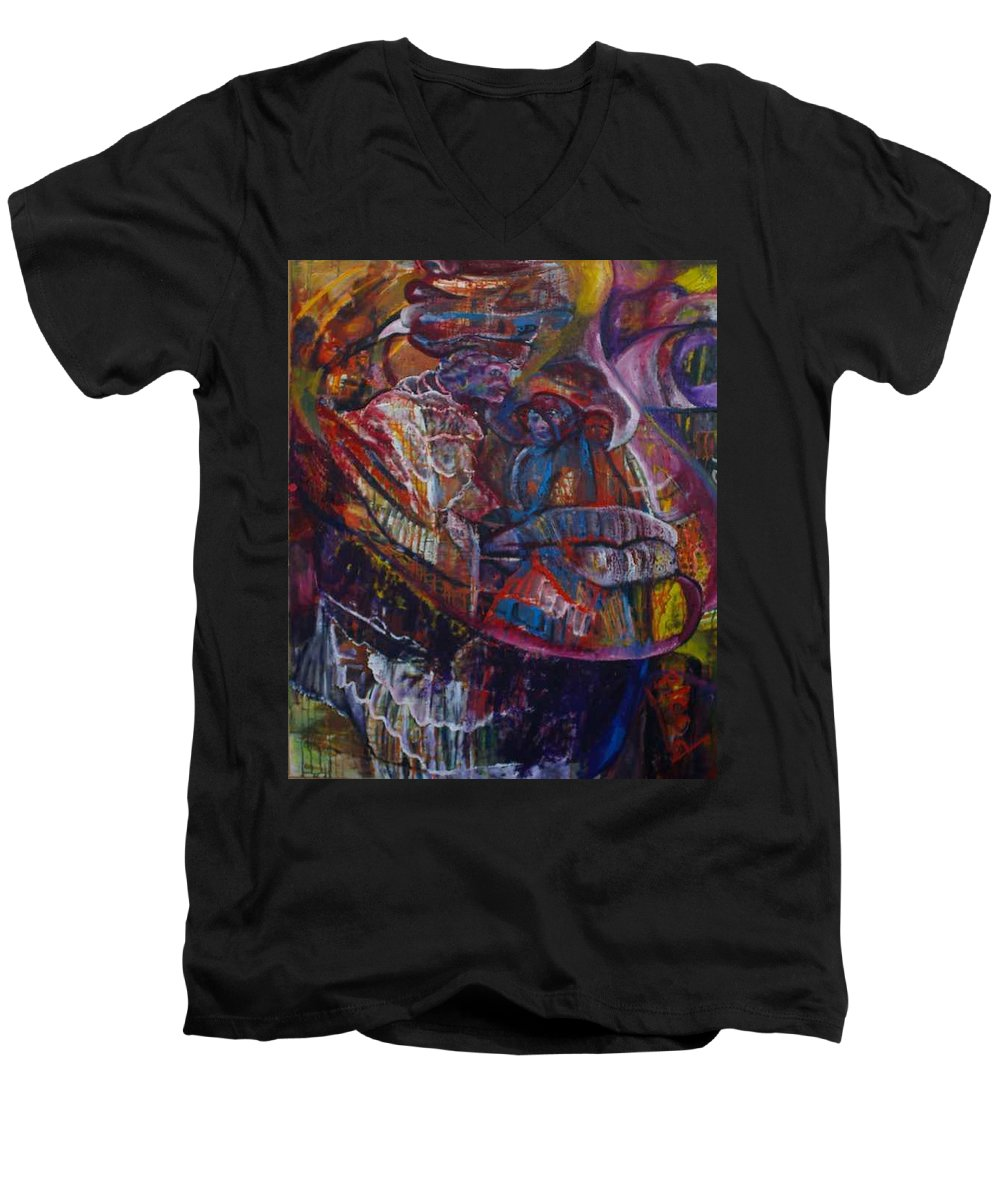 African Women Men's V-Neck T-Shirt featuring the painting Tikor Woman by Peggy Blood