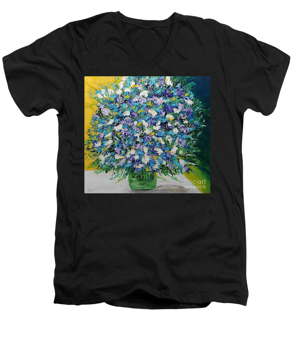 Landscape Men's V-Neck T-Shirt featuring the painting To Have And Delight by Allan P Friedlander