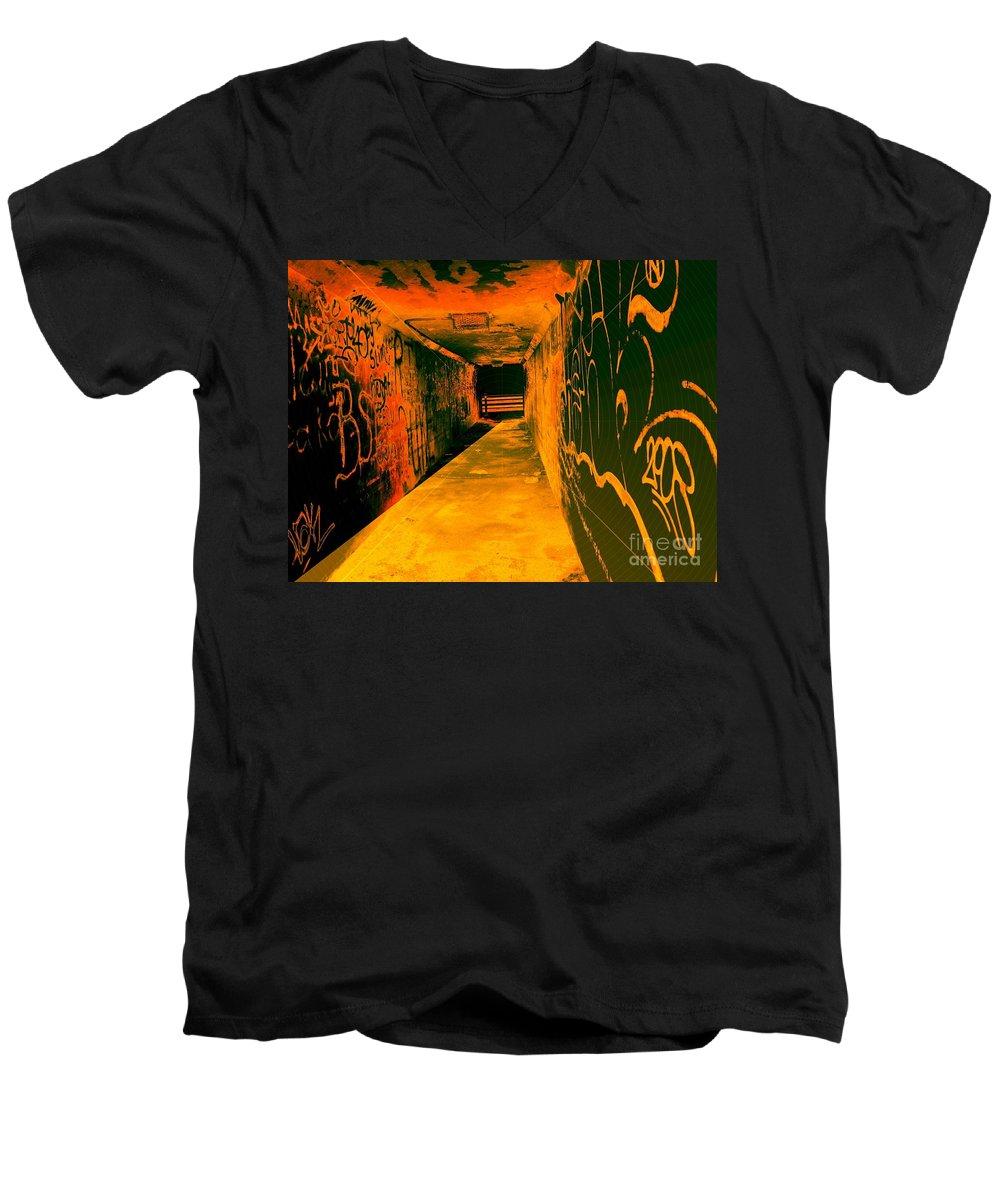 Tunnel Men's V-Neck T-Shirt featuring the photograph Under The Bridge by Ze DaLuz