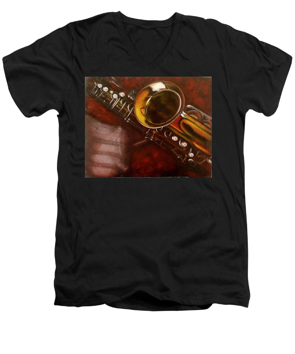 Still Life Men's V-Neck T-Shirt featuring the painting Unprotected Sax by Sean Connolly