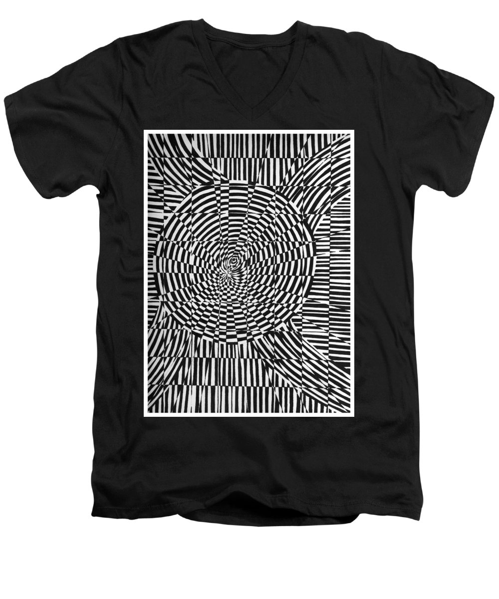 Abstract Men's V-Neck T-Shirt featuring the drawing Unraveled by Crystal Hubbard