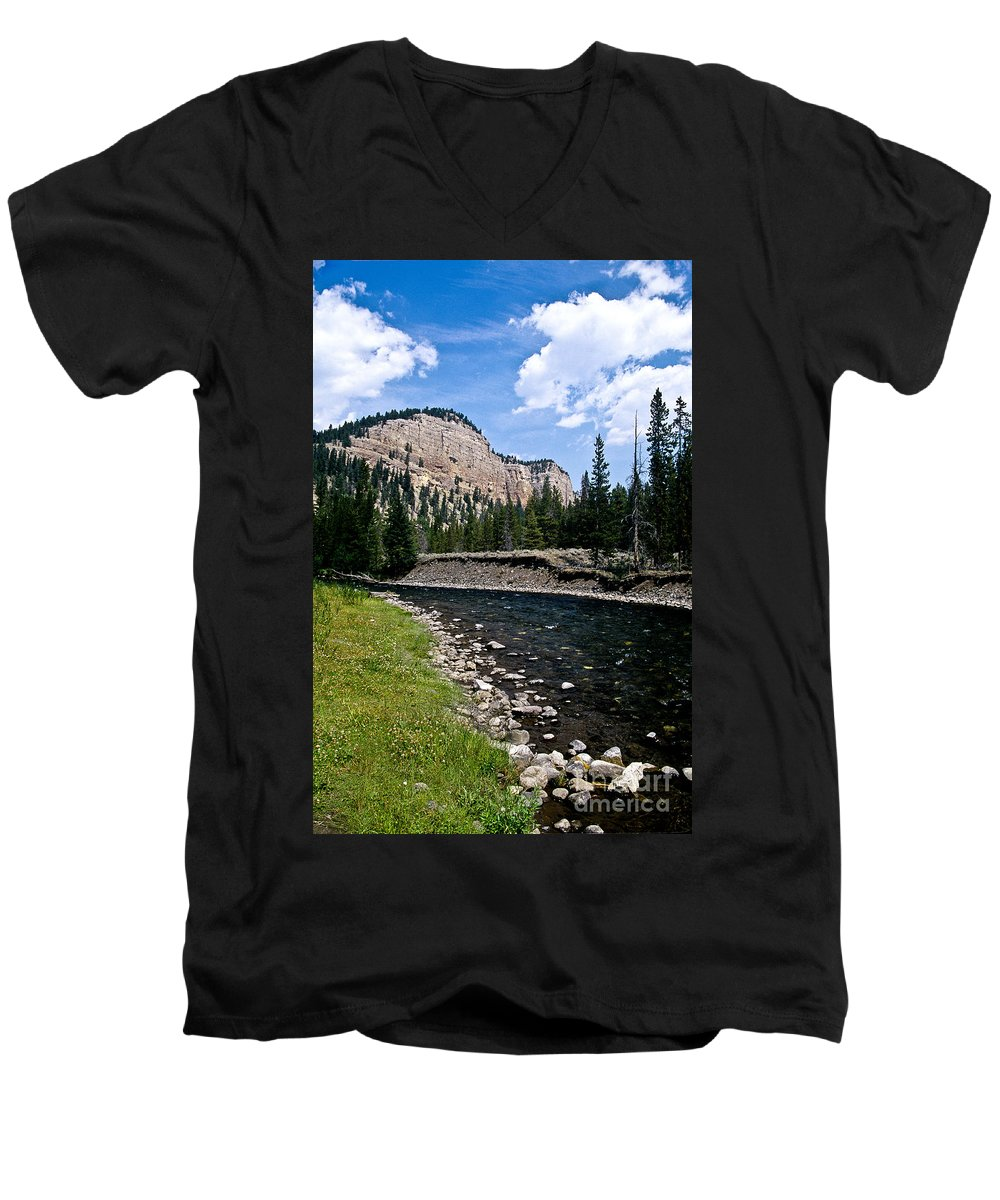 Landscape Men's V-Neck T-Shirt featuring the photograph Upriver In Washake Wilderness by Kathy McClure