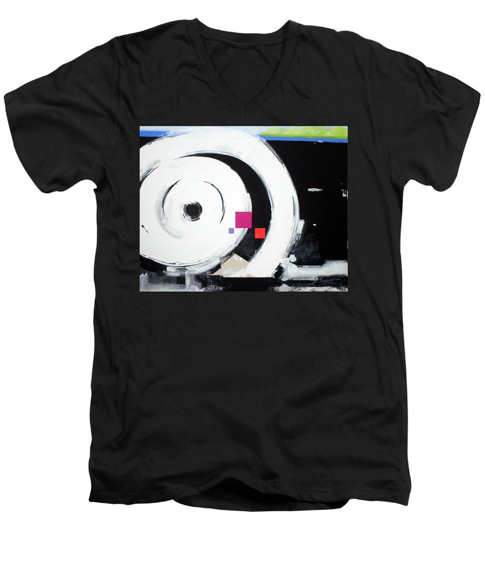 Abstract Men's V-Neck T-Shirt featuring the painting Wheel Of Fortune by Jean Pierre Rousselet