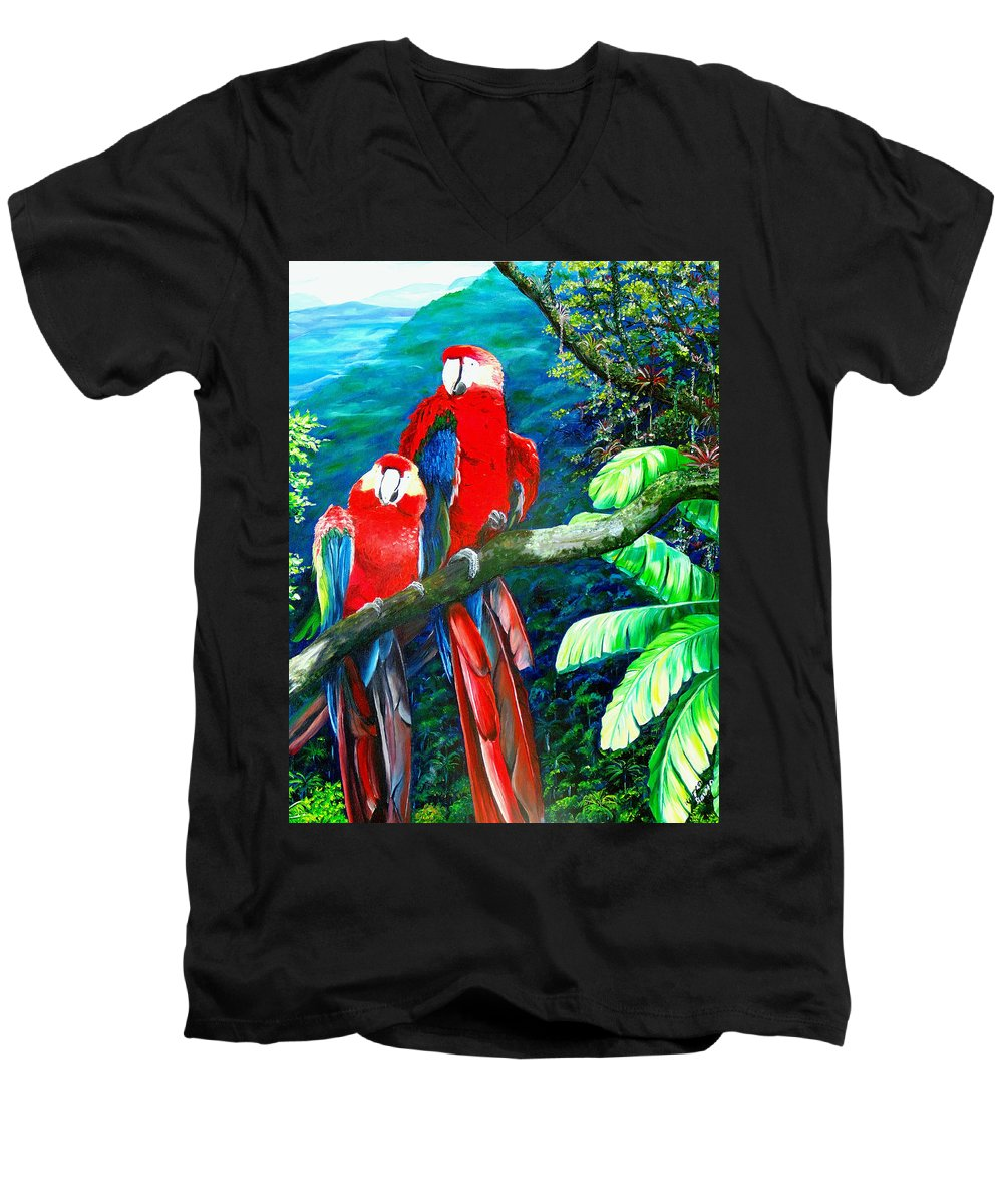 Caribbean Painting Green Wing Macaws Red Mountains Birds Trinidad And Tobago Birds Parrots Macaw Paintings Greeting Card  Men's V-Neck T-Shirt featuring the painting Who Me  by Karin Dawn Kelshall- Best
