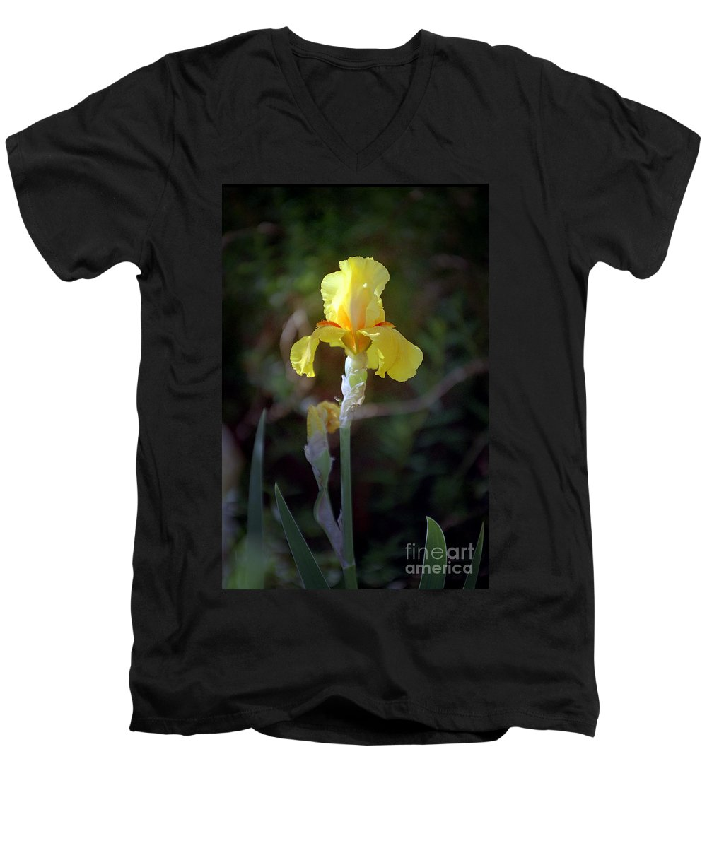 Iris Men's V-Neck T-Shirt featuring the photograph Yellow Iris by Kathy McClure