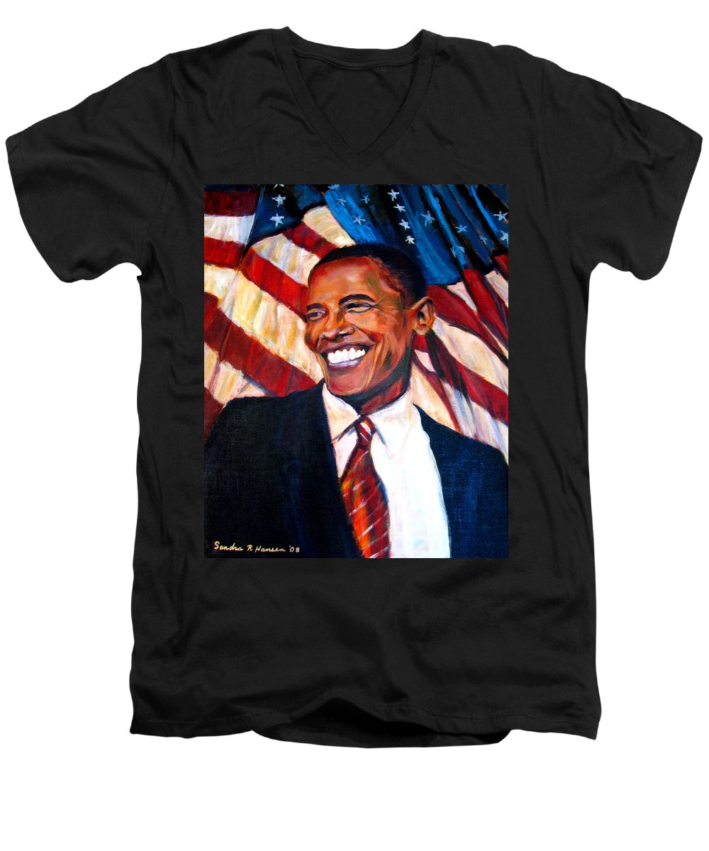 Barack Men's V-Neck T-Shirt featuring the painting Yes We Can by Art Nomad Sandra Hansen