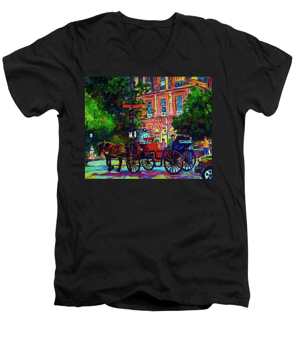 Rue Notre Dame Men's V-Neck T-Shirt featuring the painting Horsedrawn Carriage by Carole Spandau
