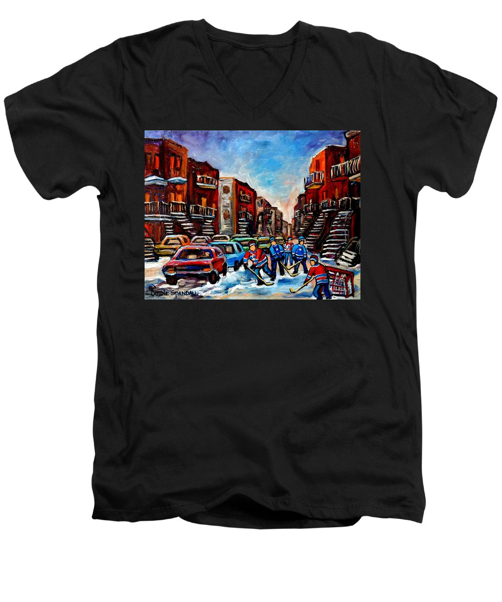 Montreal Men's V-Neck T-Shirt featuring the painting Late Afternoon Street Hockey by Carole Spandau