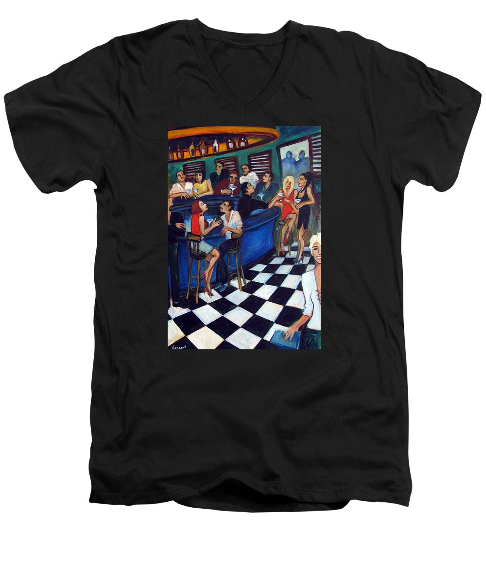 Chicago Style Bar Men's V-Neck T-Shirt featuring the painting 32 East by Valerie Vescovi