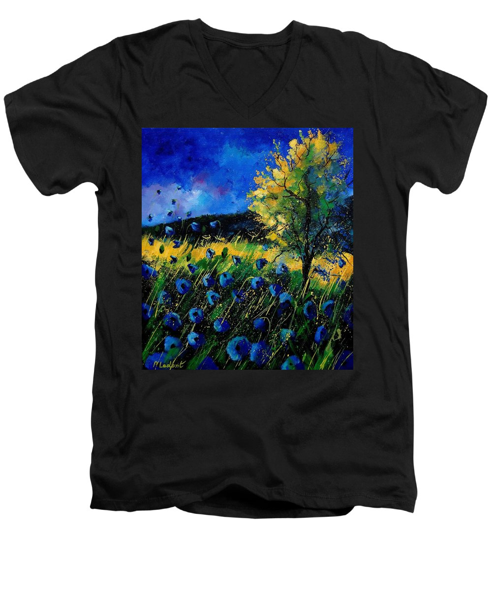 Poppies Men's V-Neck T-Shirt featuring the painting Blue Poppies by Pol Ledent