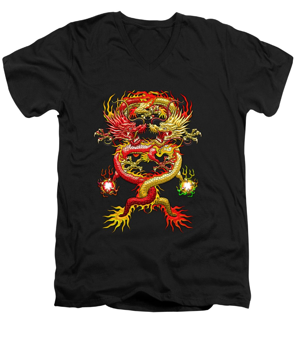 �treasures Of Asia� Collection By Serge Averbukh Men's V-Neck T-Shirt featuring the photograph Brotherhood Of The Snake - The Red And The Yellow Dragons by Serge Averbukh