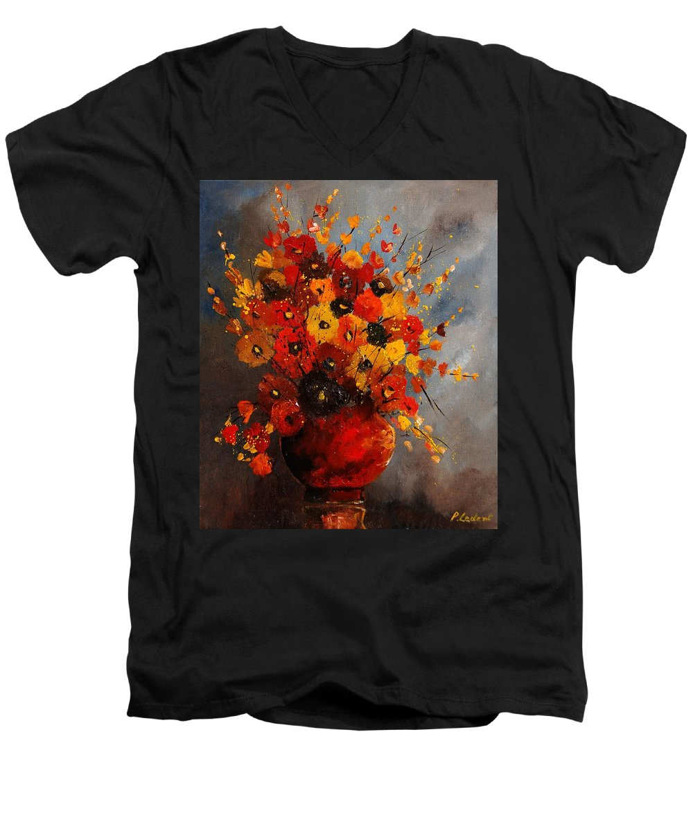 Flowers Men's V-Neck T-Shirt featuring the painting Bunch 0708 by Pol Ledent