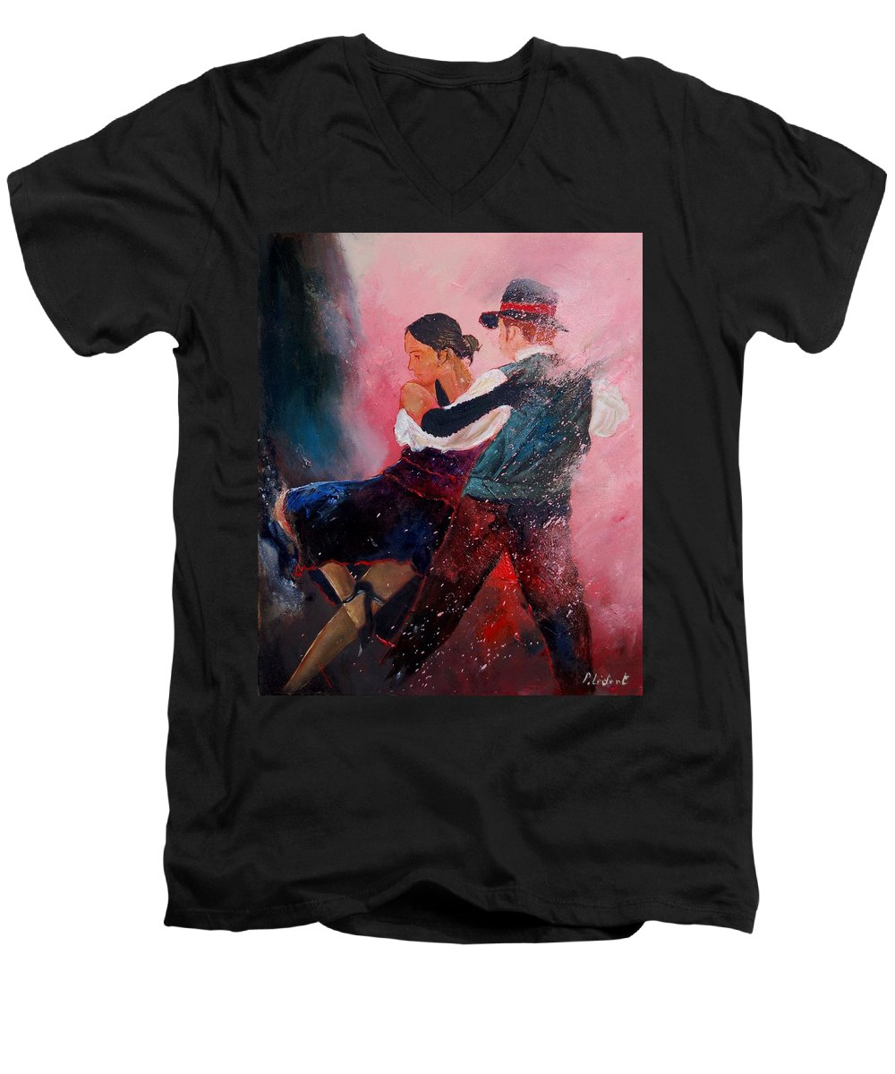 Music Men's V-Neck T-Shirt featuring the painting Dancing Tango by Pol Ledent