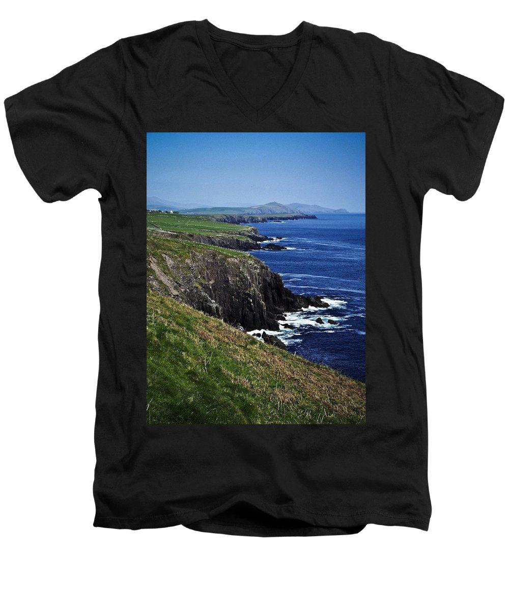 Irish Men's V-Neck T-Shirt featuring the photograph Dingle Coastline Near Fahan Ireland by Teresa Mucha