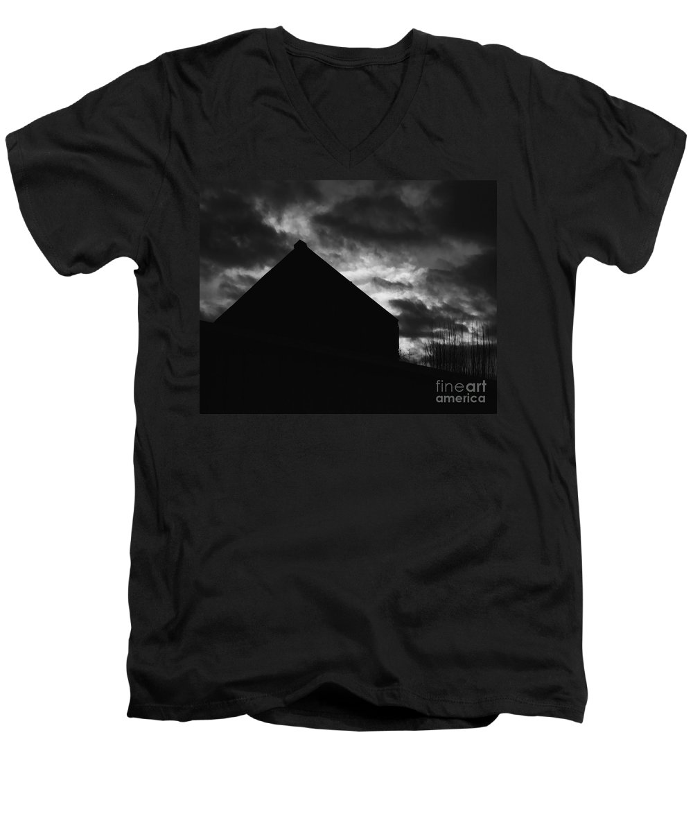 Black And White Men's V-Neck T-Shirt featuring the photograph Early Morning by Peter Piatt