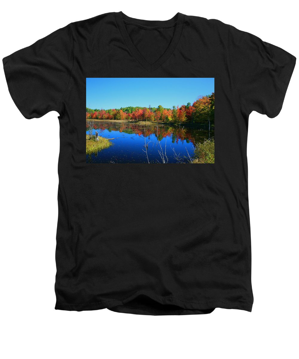 Fall Men's V-Neck T-Shirt featuring the photograph Fall Fire Works by Robert Pearson