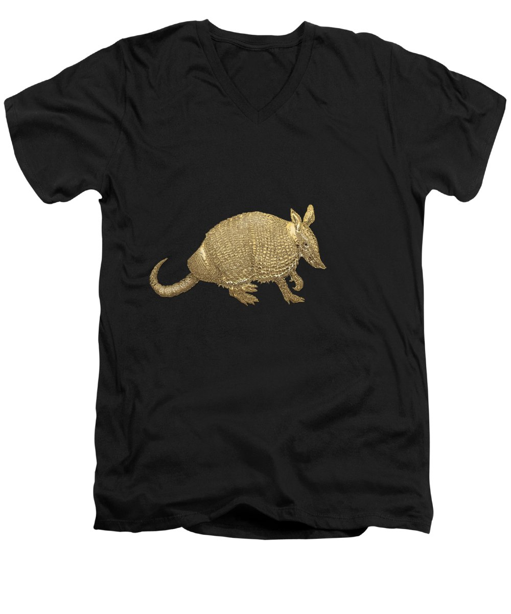 'beasts Creatures And Critters' Collection By Serge Averbukh Men's V-Neck T-Shirt featuring the photograph Gold Armadillo On Black Canvas by Serge Averbukh