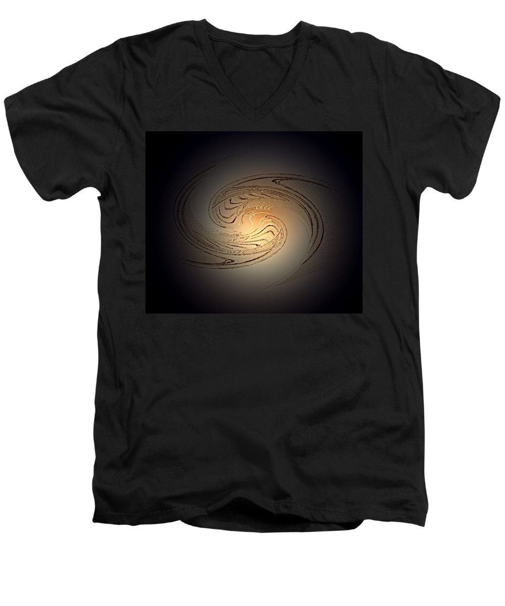 Swirl Men's V-Neck T-Shirt featuring the digital art In The Beginning by Don Quackenbush