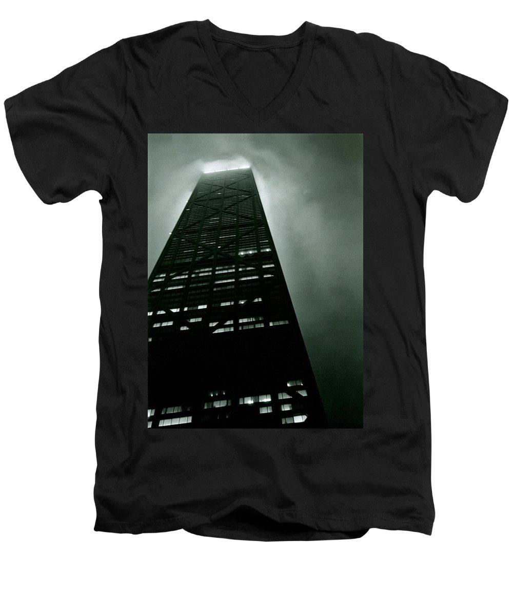 Geometric Men's V-Neck T-Shirt featuring the photograph John Hancock Building - Chicago Illinois by Michelle Calkins