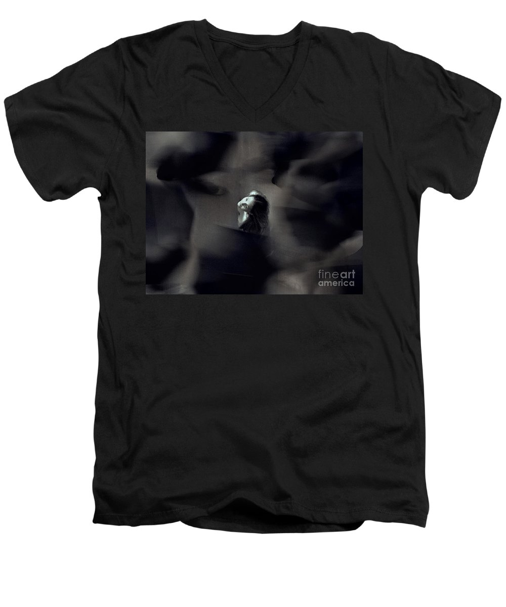 Street Men's V-Neck T-Shirt featuring the photograph Just For Today I Will Not Be Afraid by Dana DiPasquale