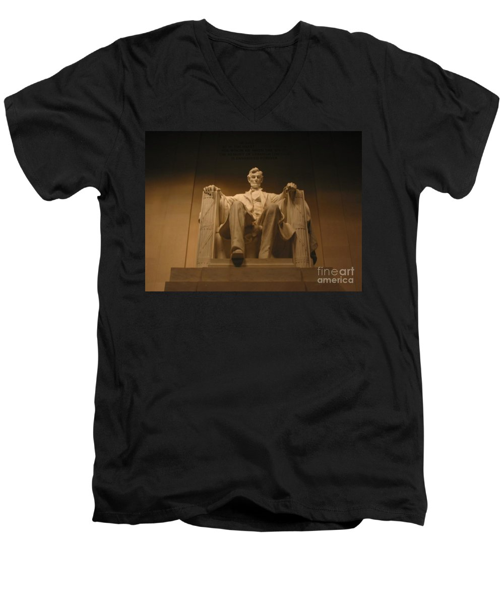 Abraham Lincoln Men's V-Neck T-Shirt featuring the painting Lincoln Memorial by Brian McDunn